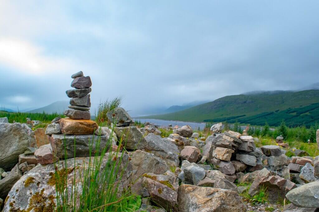 Cairns on a mountainside