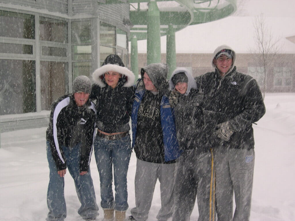 Students in snow at nhti